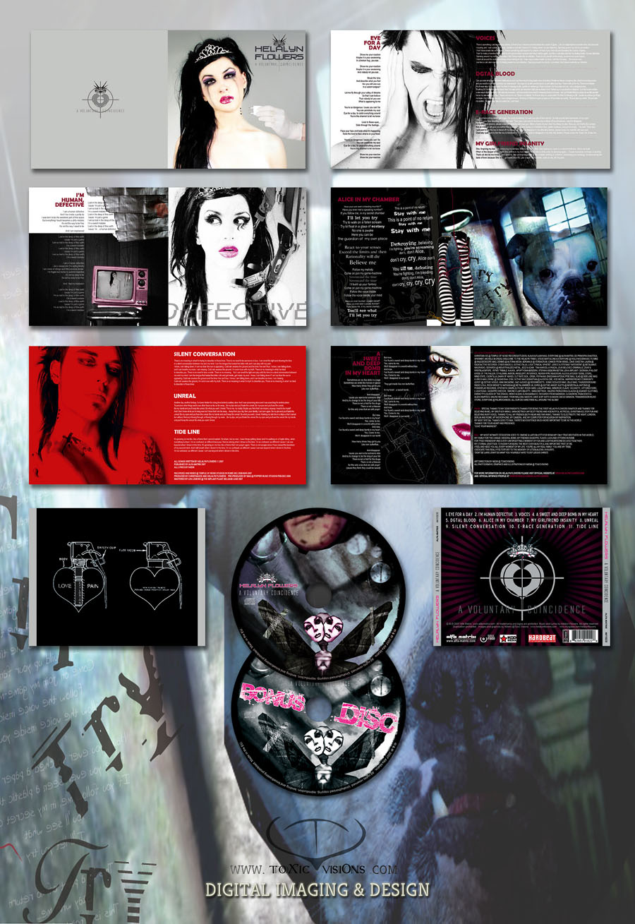 Helalyn Flowers - A Voluntary Coincidence / Booklet Artwork - 2CD digipack box layout by Toxic Visions / © Copyright. All rights reserved